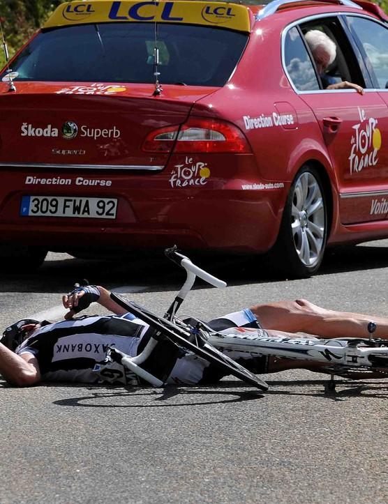 Saxo Bank's Jens Voigt crashed hard during a high-speed descent July 21, 2009.