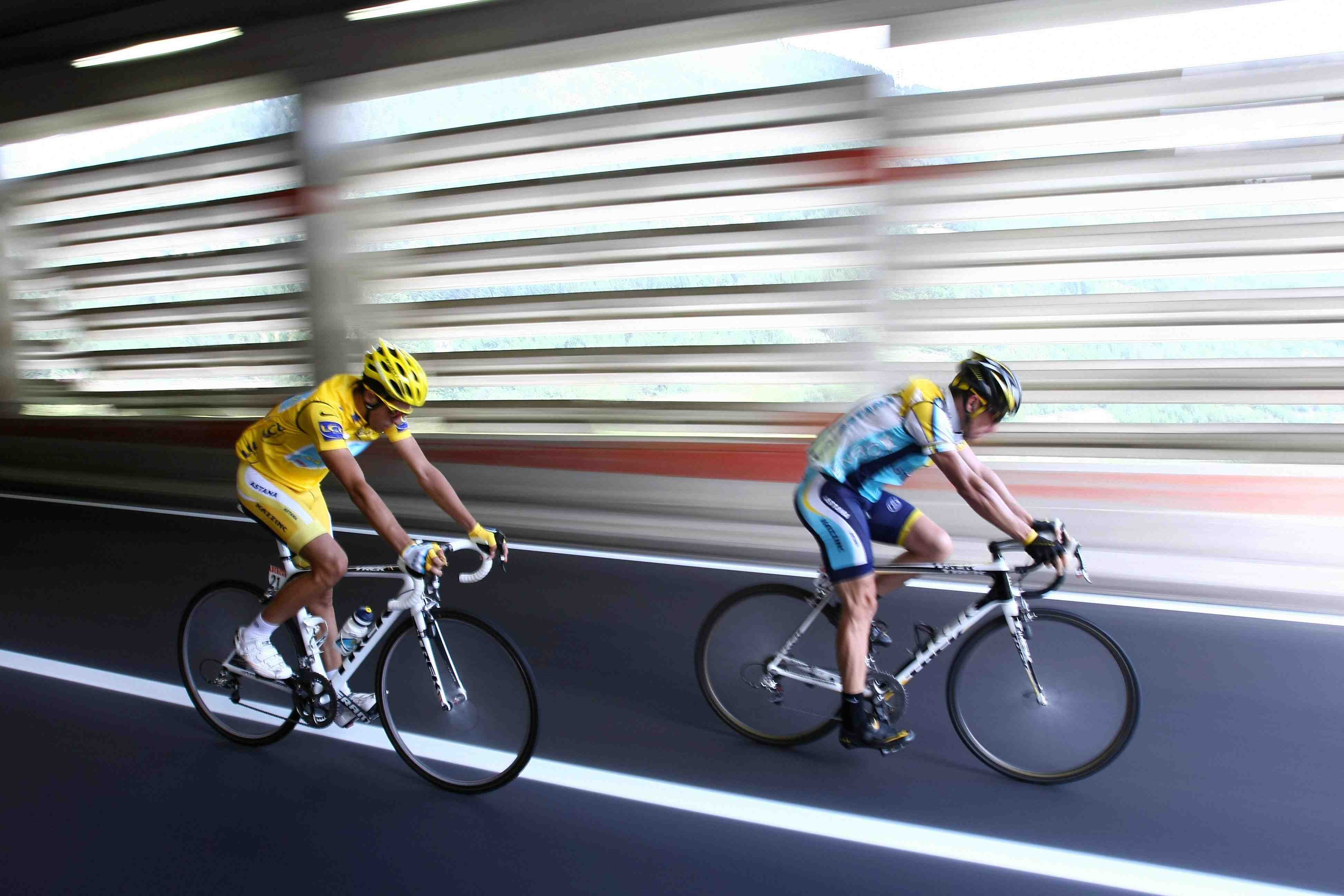Current Astana teammates Alberto Contador and Lance Armstrong during stage 16 of the 2009 Tour de France.