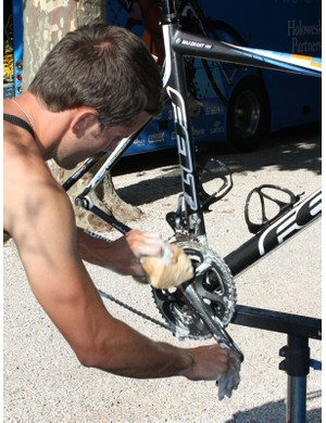 Soapy sponges are used for the rest of the bike, including the frame, fork and all components.