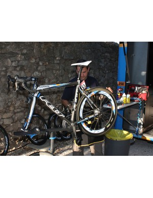 After its bath, each bike then moves to the next station where it's inspected and tuned with parts replaced as needed. Garmin-Slipstream's standard protocol calls for chain, cable and housing replacement for every bike at each rest day.