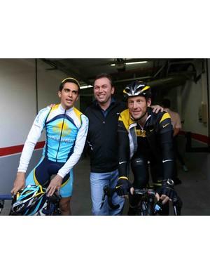 Astana's Alberto Contador (L), Johan Bruyneel and Lance Armstrong Spanish Canary Island of Tenerife, on December 5, 2008.
