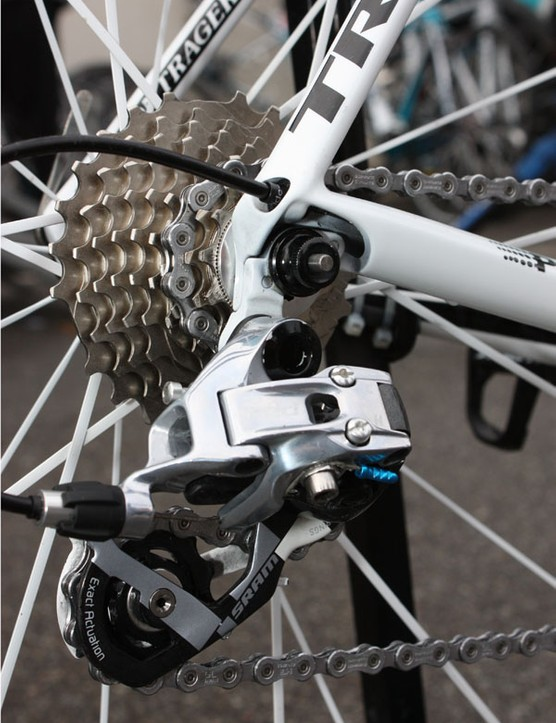 The SRAM Red rear derailleur is affixed to a replaceable hanger.
