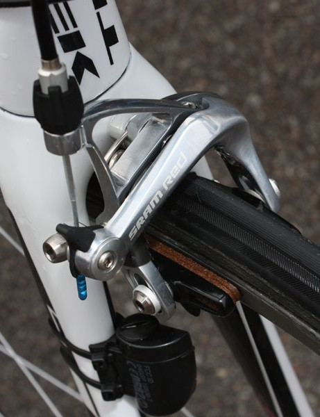 Bontrager carbon-specific cork pads are fitted to SRAM Red brake calipers.