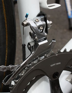 A steel Force cage is spliced on to a SRAM Red front derailleur.