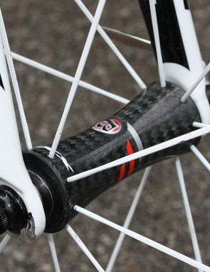 The new Bontrager Race XXX Lite carbon tubulars have moved away from paired spokes but continue to use hubs based on DT Swiss' 240s design.
