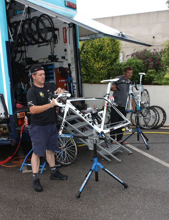 Contador's personal mechanic, Faustino Munoz, readies the 2007 Tour de France champion's bike after the wet stage into Barcelona.
