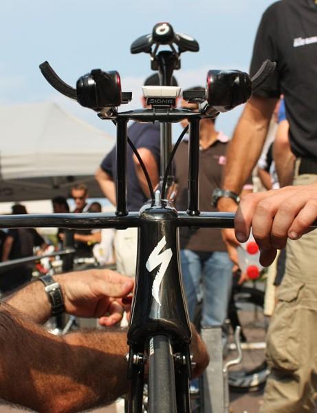 Voigt's aerobar setup looks more like an aeroplane from this angle than a bicycle handlebar.