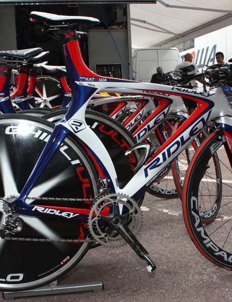 Ridley premiered its speedy-looking Dean last year under the Silence-Lotto team but now supplies the Katusha squad instead.