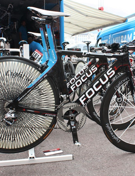 Milram's time trial bike is designed by Andy Walser, who has long provided top pros with custom aero machines.