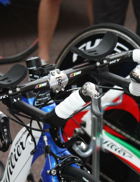 The Ritchey bar on this Lampre team-issue Wilier has its extensions mounted below the base bar - no chance of this rider dropping their elbows and adopting a pseudo-praying mantis position here.