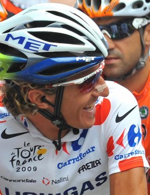 Italian cycling team Liquigas (LIQ)'s leader Franco Pellizotti of Italy on July 21, 2009 in Martigny (Switzerland) before the start of the 159 km and sixteenth stage of the 2009 Tour de France