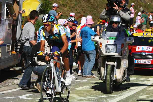 Spaniard Alberto Contador (Astana) rides towards a stage victory and the yellow jersey on stage 15 of the 2009 Tour de France from Pontarlier to Verbier on July 19 in Verbier, Switzerland.