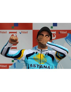 Spain's Alberto Contador on the stage 18 podium July 23, 2009 in Annecy, France.