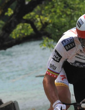 Swiss time trial ace Fabian Cancellara during stage 18's race, where he finished second to Contador.