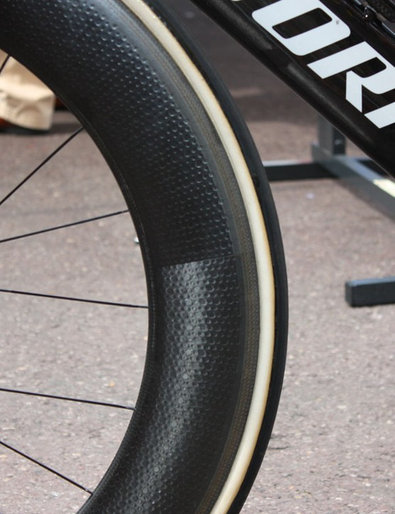 Though there are no identifiying labels there's little mistaking what brand of rim Quick Step is using for these wheels.