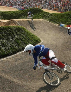 rance's silver medalist Laetitia le Corguille competes during the women's BMX finals in the 2008 Beijing Olympic Games on August 22, 2008 at the Laoshan BMX Venue in Beijing.