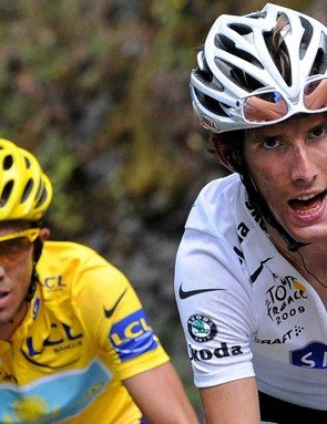 Andy Schleck (R) says Alberto Contador will be tough to beat on Mt Ventoux July 25, the second last stage of the 2009 Tour de France.
