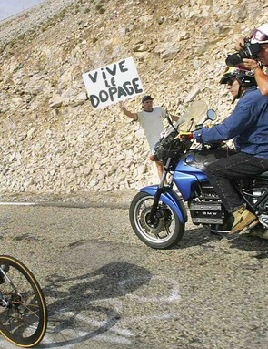 Lance Armstrong racing up Mt Ventoux during the 2002 Tour.