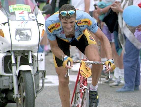Italy's Eros Poli lumbers up the Mt Ventoux en route to victory in the 1994 Tour de France.