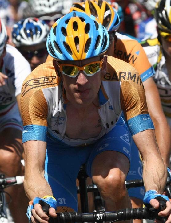 Britain's Bradley Wiggins (C) turned in an impressive 2009 Tour performance.