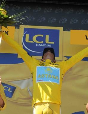 Alberto Contador feels a happy dance coming on...