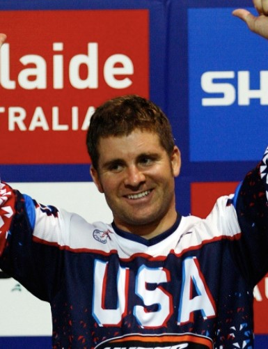 Donny Robinson of the United States celebrates after winning the Elite Mens World Champinship during the UCI BMX World Championships at the Adelaide Show Ground on July 25, 2009 in Adelaide, Australia.