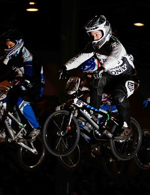 Sarah Walker of New Zealand (C) leads a pack of riders during the UCI BMX World Championships at the Adelaide Show Ground on July 25, 2009 in Adelaide, Australia.