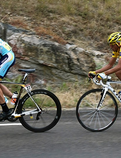 Contador shadows his teammate Armstrong in the mountains