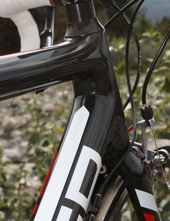 In addition to stiffening up the steering column, the tapered head tube also provides more surface area at the top tube and down tube junctions.