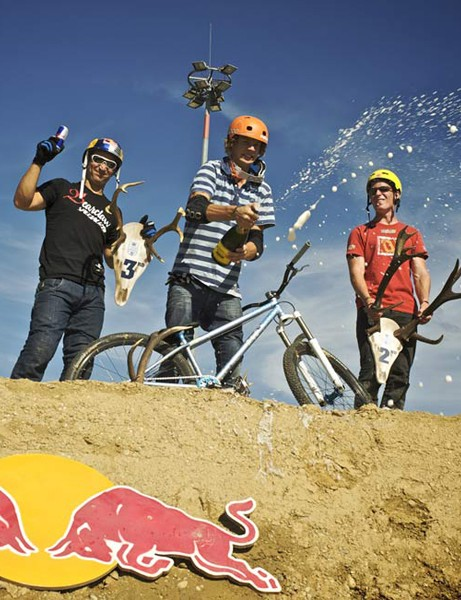 Top three mountain bikers at Big In Bavaria 2009 –  Darren Berrecloth, Martin Soderstrom and Sam Pilgrim