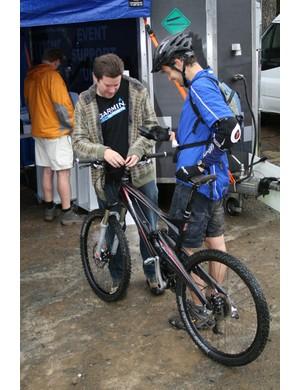 A Garmin unit is fixed to a bike at the Garmin MTB Day, Glentress