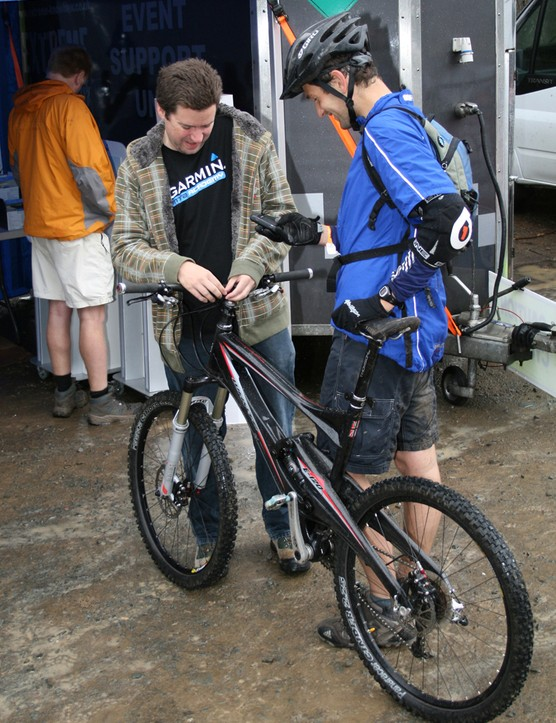 A Garmin unit is fixed to a bike at the Garmin MTB Day, Glentress