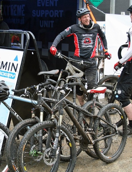 Outside the registration tent at the Garmin MTB Day, Glentress