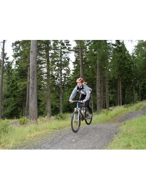Hitting the freeride trail at the Garmin MTB Day, Glentress