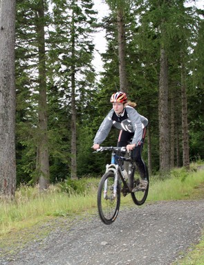 Hitting the freeride trail at the Garmin MTB Day, Glentress