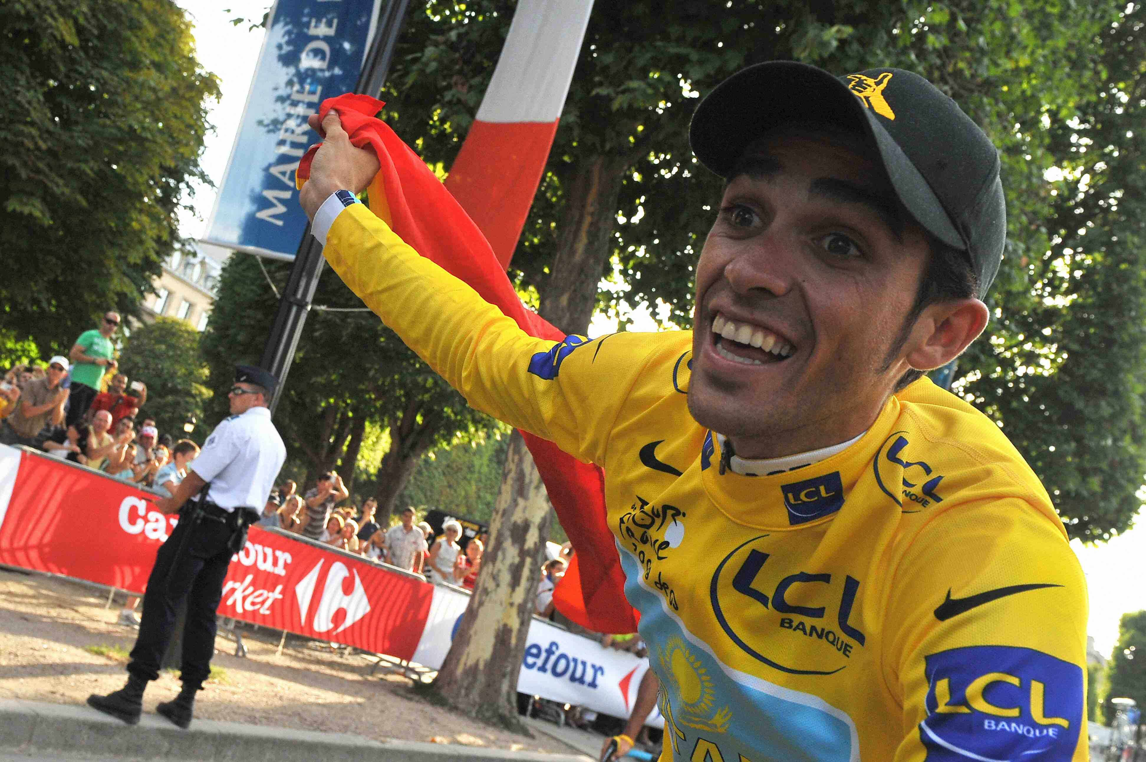 2009 Tour de France winner Alberto Contador on the Champs-Elysees July 26.