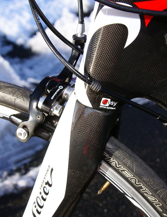 The Cento Uno doesn't use a tapered steerer but the lower head tube area is reinforced for excellent steering precision