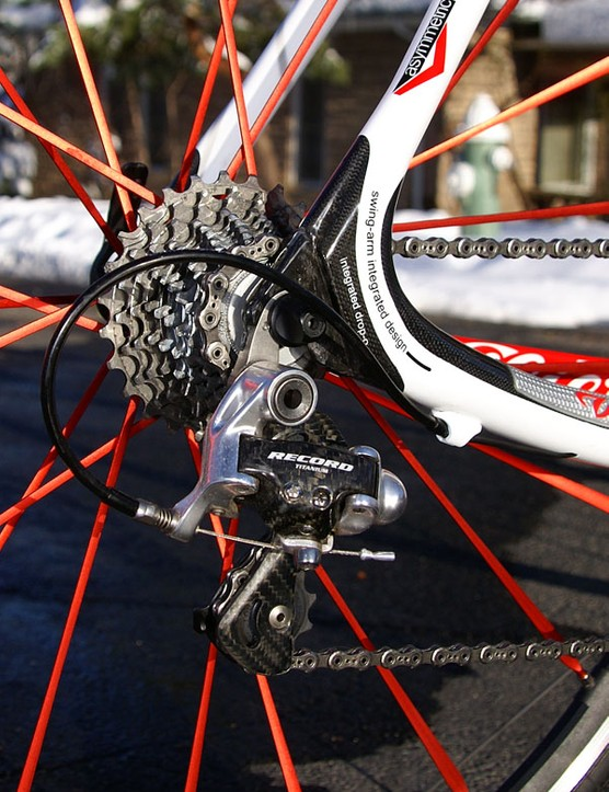 The Campagnolo Record 10s rear derailleur normally rattles off reliable shifts but the cable routing's additional drag made for sub-par gear changes