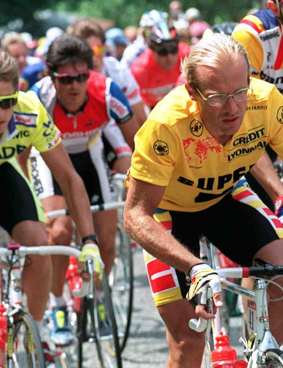 Greg LeMond (L) tails yellow jersey Laurent Fignon on on July 12, 1989, during the 11th stage of the Tour de France from Luchon to Blagnac.