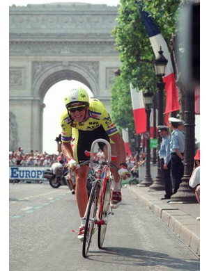 American cyclist Greg LeMond, moments away from capturing the 1989 Tour de France on the streets of Paris from rival Laurent Fignon.