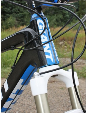 The new Anthem Advanced SL's tapered head tube borrows design cues from the road-going TCR Advanced SL