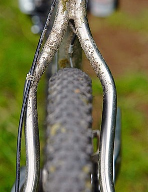 Swerving seatstays suck up trail vibration before it bites your arse, but control routing could be better