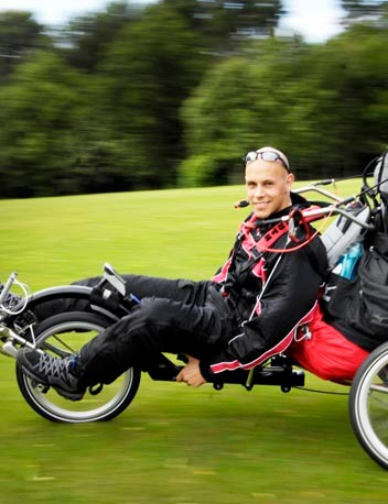 With a road speed of up to 40 mph, he has promised to keep the engine switched off during any stretches of road cycling