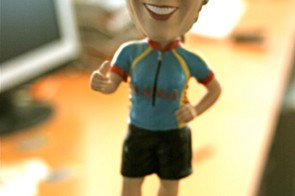 One of Streb's thank-you gifts to her sponsors, a bobblehead Marla