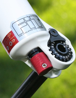 The clockable axle threads let you set the desired position of the quick-release lever. Rebound adjustment has moved to the bottom of the fork