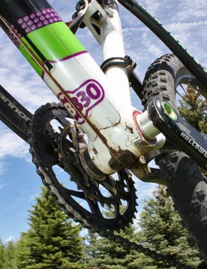 Cannondale's BB30 bottom bracket shell uses a standard 68mm width but an oversized diameter that houses the cartridge bearings and aluminium spindle