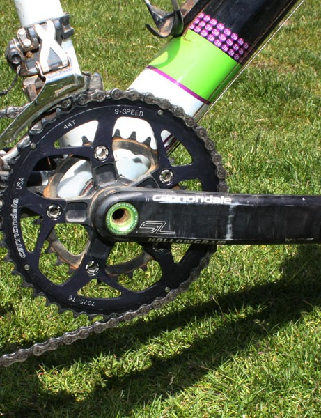 The ultralight Cannondale Si Hollowgram SL crankset is fitted with just two chainrings