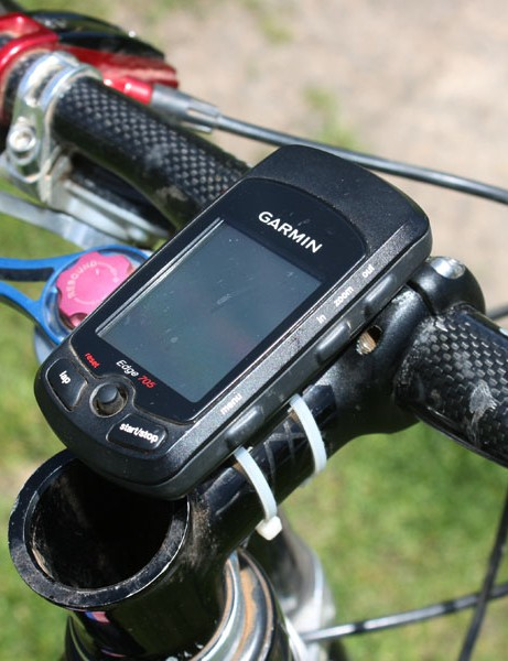 A Garmin Edge 705 GPS-enabled computer keeps track of Juarez's training rides