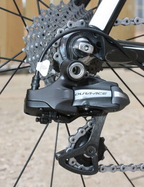 The rear derailleur is fairly standard-looking save for the bulbous appendage that has sprouted out the back to house the stepper motor