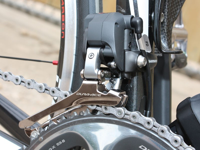 The front derailleur is a bit chunky looking but it has to generate a lot more force than the rear derailleur
